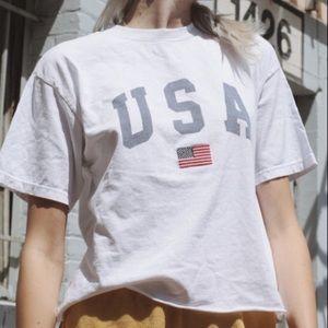 Brandy Melville USA White Cropped TShirt